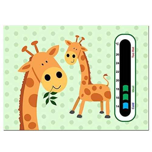 Baby Safe Ideas Giraffe Twins Nursery Room Thermometer - Using Latest Easy Read Colour Changing Technology
