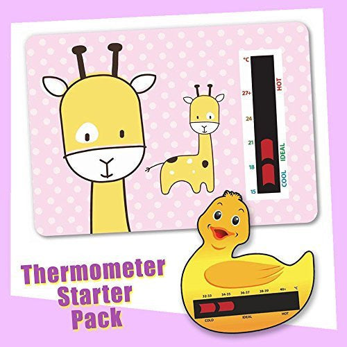 Baby Duck Bath & Pink Giraffe Nursery Room Thermometer Starter Pack - New Technology