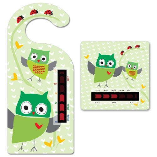 Baby Owl Room Thermometer Hanger and Owl Bath Thermometer With New Moving Line Technology