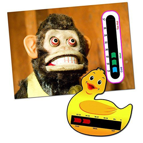 Baby and Child Home and Travel Thermometer Set to Monitor Temperature - Duck Baby Bath Thermometer & Monkey Baby Room Nursery Thermometer
