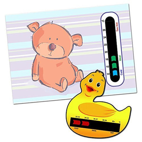 Baby and Child Home and Travel Thermometer Set to Monitor Temperature - Duck Baby Bath Thermometer & Cute Bear Baby Room Nursery Thermometer