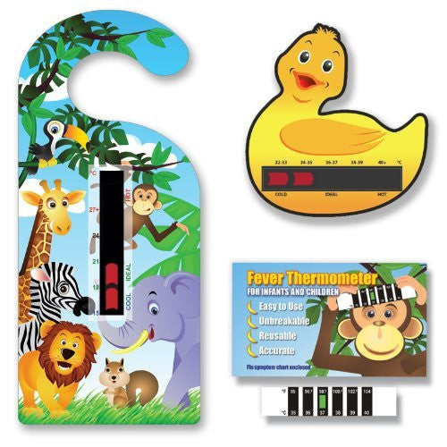 NEW! Baby Safe Ideas Thermometer Pack - Jungle Nursery and Room Thermometer Hanger, Duck Bath Thermometer and Monkey Forehead Thermometer. For Babies and Children.