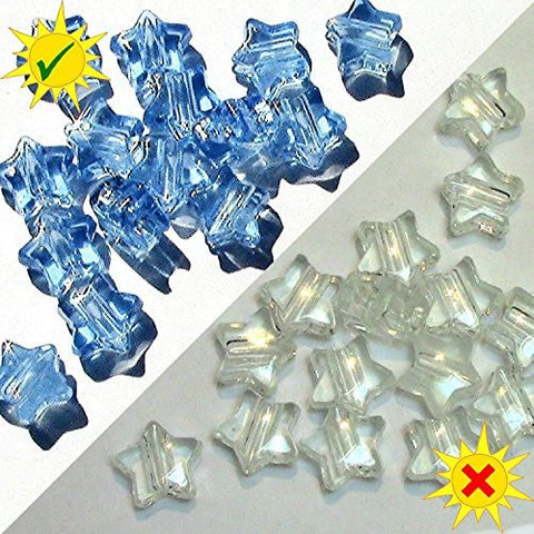 SolarActive® Pack of 25 Colour Changing Star Pony Beads (Clear to Blue) - Great for Jewellery Crafts and UV Awareness craft projects. They change colour in the sun!