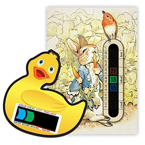 Pack of Peter Rabbit Nursery and Room Thermometer and Duck Bath Thermometer with Easy Read Colour Changing Technology for Baby/Child