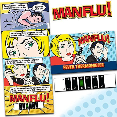 MAN FLU! Forehead Thermometer - Don't leave this killer undetected, with this NEW accurate Thermometer. A great comical gift for men that really works.