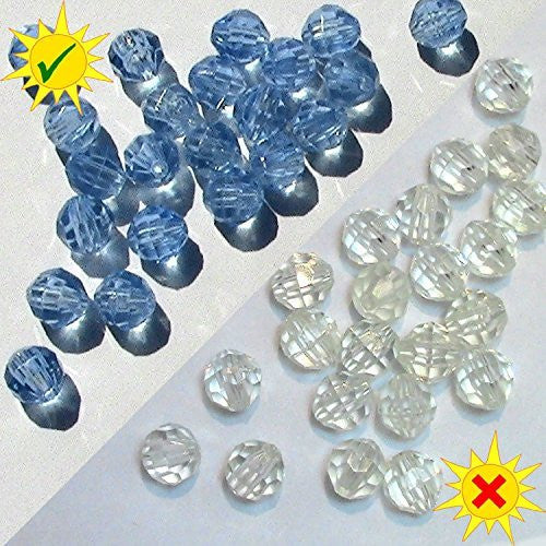SolarActive® Pack of 25 Colour Changing Facet Pony Beads (Clear to Blue) - Great for Jewellery Crafts and UV Awareness craft projects. They change colour in the sun!