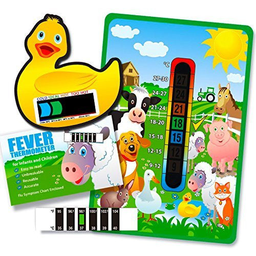 Pack of 'Happy Family' Farm Yard Animals Nursery and Room Thermometer, Duck Bath Thermometer and Forehead Thermometer Fever Pack for Baby/Child
