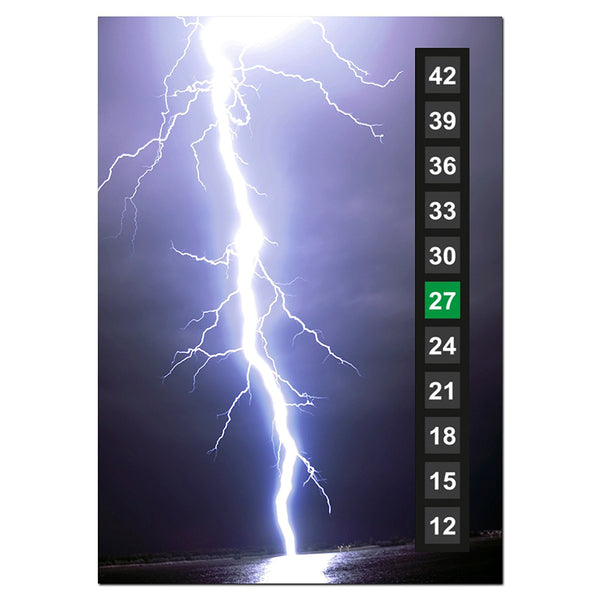 Large - Easy Read - Wide Range - Wall & Room Thermometer - Lightning Strike