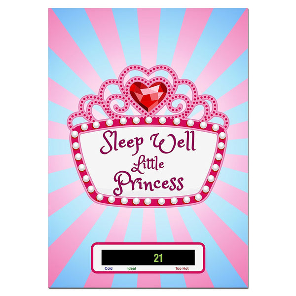 Large - Sleep Well Little Princess Baby/Child Wall & Room Thermometer - Easy Read