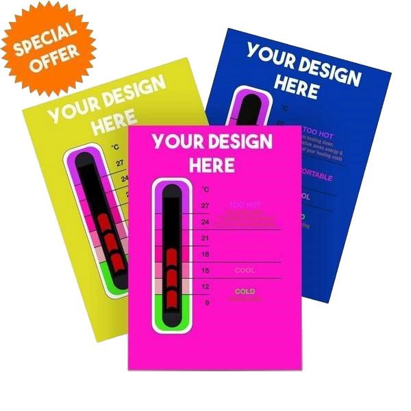 1000 Pack - Promotional Customisable Thermometer Cards for New Moving Line Thermometer Strip