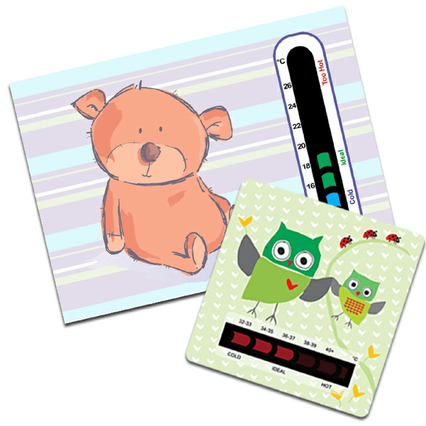 Bear Nursery Room Thermometer Card and Owl Bath Thermometer Card Pack