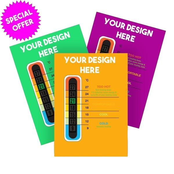 5000 Pack - Promotional Customisable Thermometer Cards for 9C to 27C Thermometer Strip