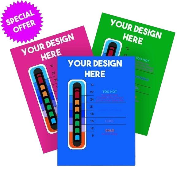 2500 Pack - Promotional Customisable Thermometer Cards for New Moving Line Thermometer Strip