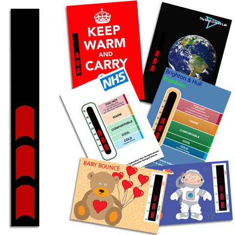 Red bar thermometer strip sticker
