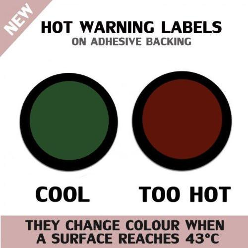 5 Pack Hot Warning Label Stickers - Change Colour from Green to Red when a surface temperature reaches 43°C
