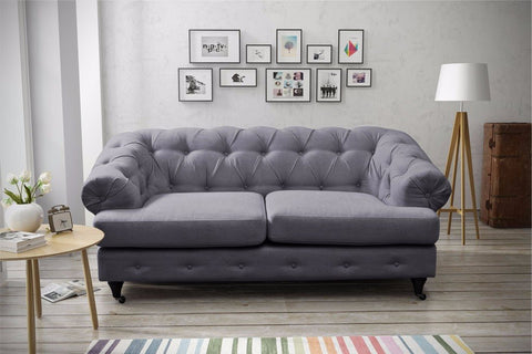 LINEN CHESTERFIELD 2 SEATER SOFA FABRIC