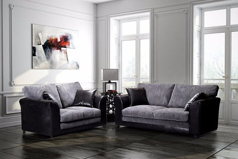BAYLEY 3 + 2 SEATER SOFA SET LEATHER AND FABRIC FORMAL BACK