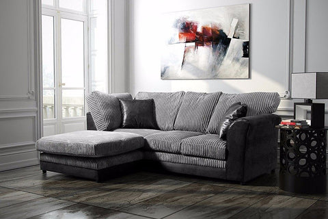 BAYLEY CORNER SOFA LEATHER AND FABRIC FORMAL BACK