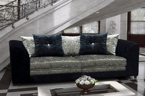 BELLE DIOR 3 SEATER SOFA FABRIC CRUSHED VELVET