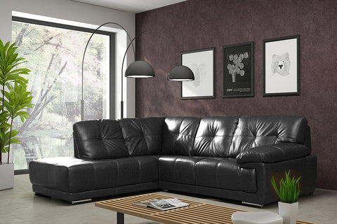 SANTINO BONDED LEATHER CORNER SOFA