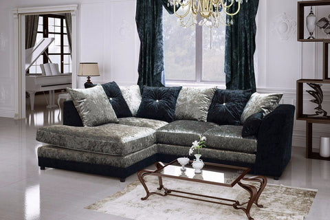 Belle Dior Corner Sofa Crushed Velvet Fabric