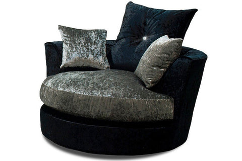 Belle Dior Swivel Chair-Armchair Fabric Crushed Velvet