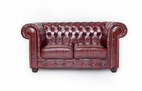 Bonded Leather Chesterfield Sofa and Armchair in Antique Brown + Oxblood Red