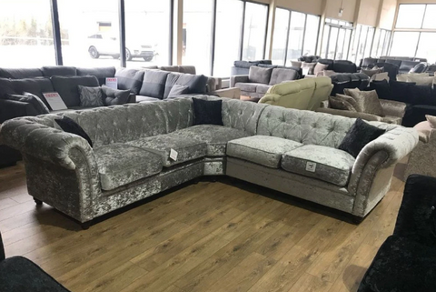 Derby Chesterfield with Crystal Studs 3+2 Seater Sofa + Armchair in Black or Silver Crushed Velvet