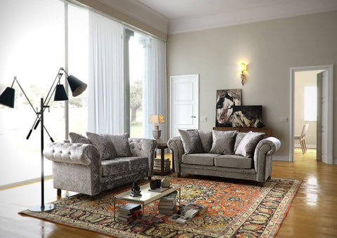 Fulham 3+2 Seater Sofa + Armchair in Silver Crushed Velvet