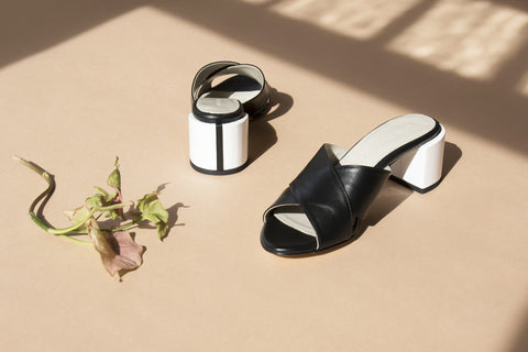 CROSS MULES, BLACK + WHITE