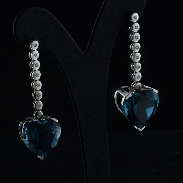 Blue Topaz Hearts Earrings