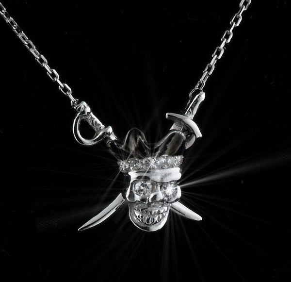 Diamond Pirate Skull Pendant