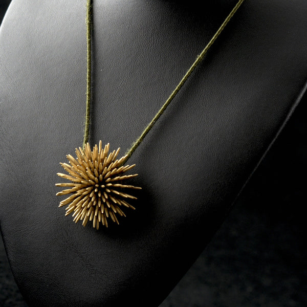 Golden Sea Urchin Pendant