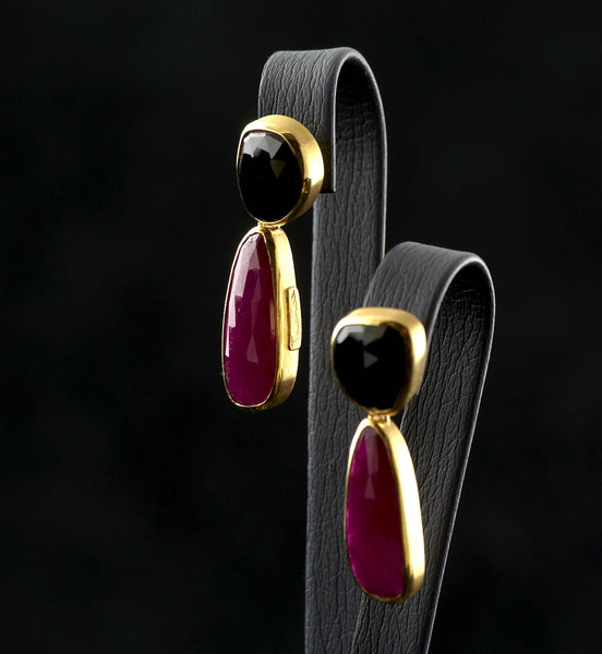 Onyx and Ruby Earrings