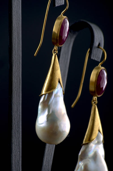 Pearls & Rubies Earrings