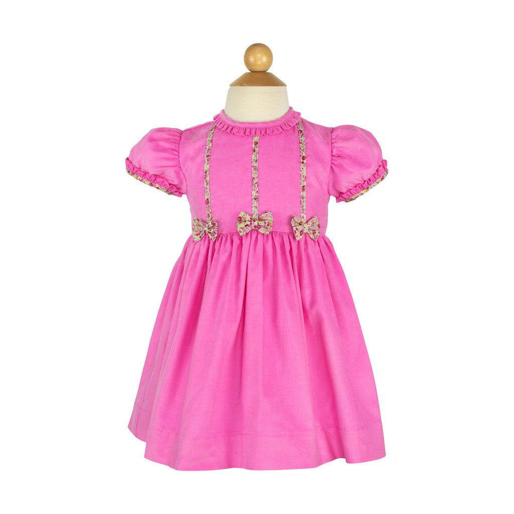 Bow Dress- Hot Pink Corduroy-RBF