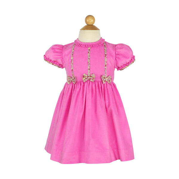 Bow Dress- Sample Size 3 in Hot Pink Corduroy