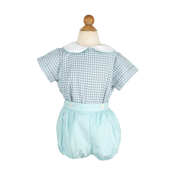 Randall Outfit- Sample Size 3 in Gray/Mint Plaid