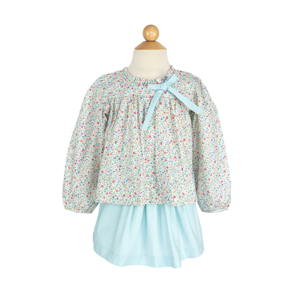 Bow Blouse- Sample Size 5 in Blue/Rose Floral