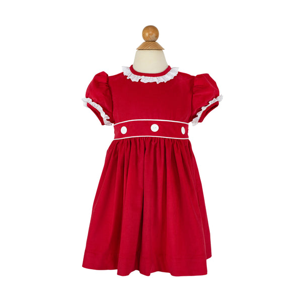 Camille Dress- Sample Size 3 in Red Corduroy