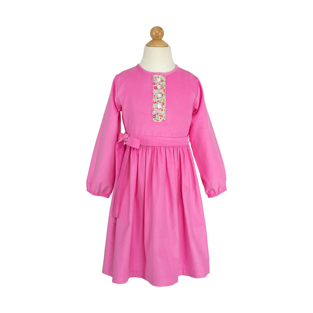 Louisa Dress- Sample Size 6 in Hot Pink Corduroy