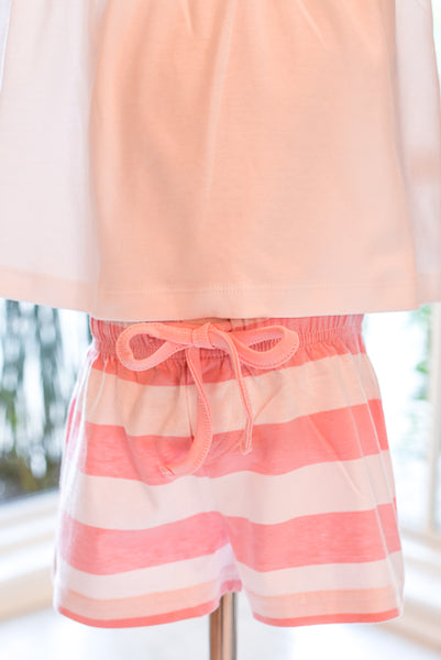 Beach Shorts- Pink Stripes in Size 4