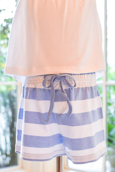 Beach Shorts- Blue Stripes in Size 6