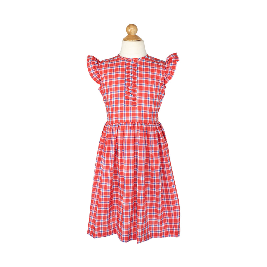 Louisa Dress Sample- Size 8 in Watermelon Plaid