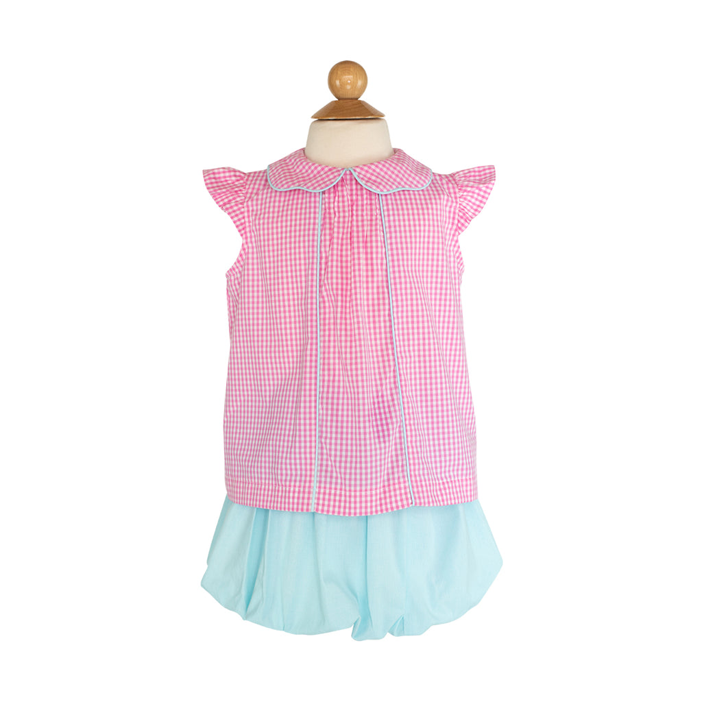 Ruth Blouse Sample- Size 5 in Hot Pink Gingham