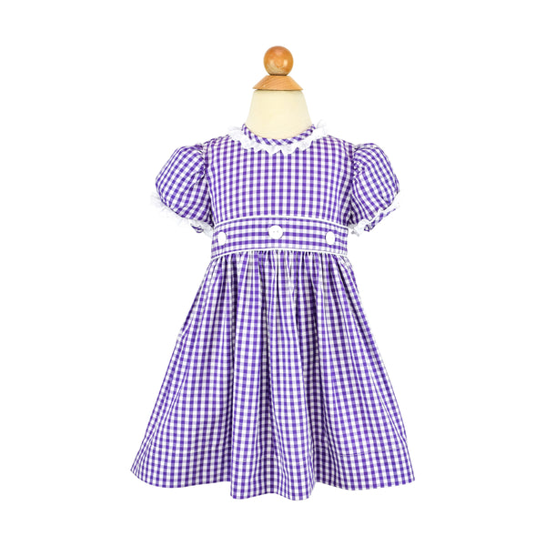 *Camille Dress- Grape Gingham