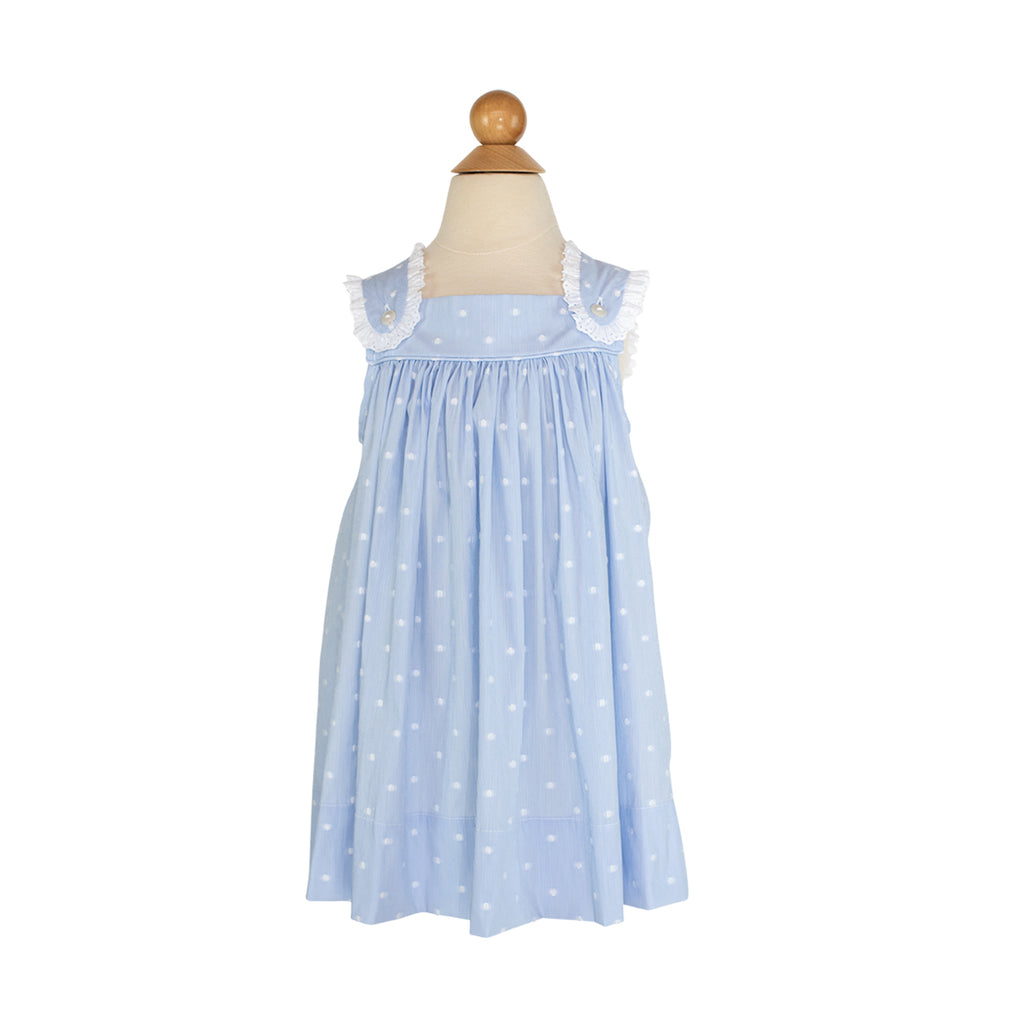 Jaci Dress Sample- Size 18M Blue with White Dots