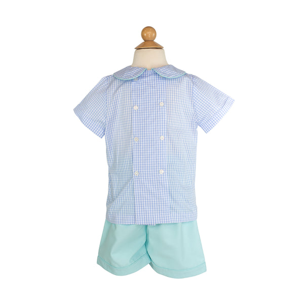 Benjamin Shirt Sample Size 5 Ice Blue Gingham