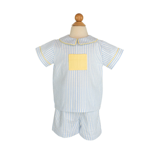 Noah Shirt Sample Size 2 Yellow/Blue Stripe