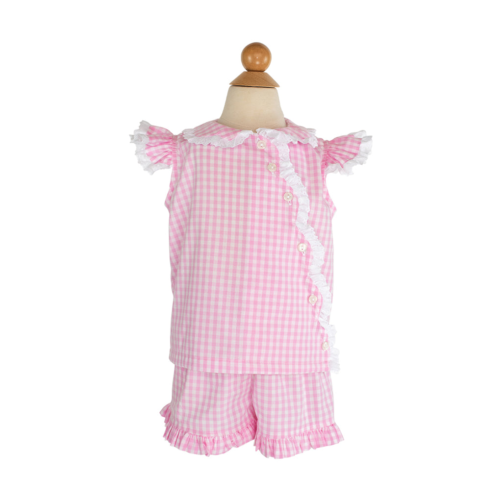 Lindsay Blouse Sample- Size 3 in Cotton Candy Gingham